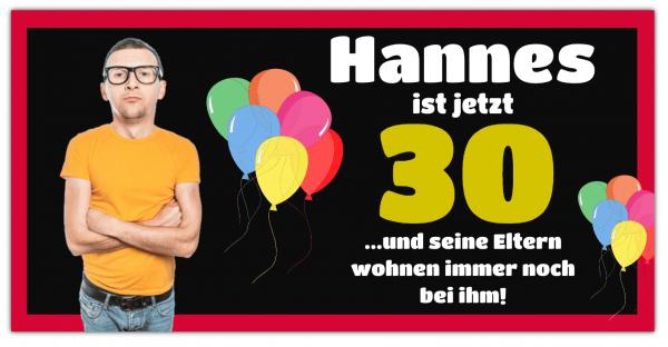 """Geburtstags Banner """"30 Jahre Eltern wohnen noch zuhause"""""""