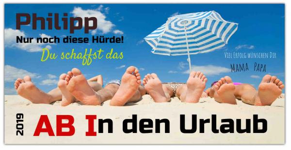 """Abiplakat """"Ab in den Urlaub Motiv"""" Banner drucken"""