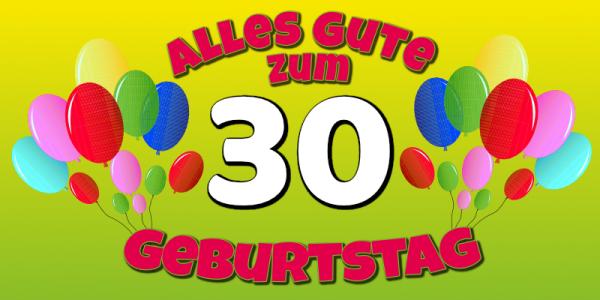 30. Geburtstag | Geburtstagsbanner | Banner zum Geburtstag | Geburtstagsposter | Geburtstagsplakat | Mesh | Werbebanner