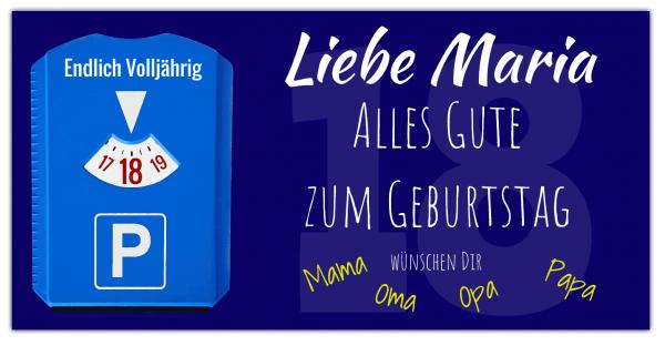 """Geburtstagsbanner zum 18 Geburtstag - Geburtstags-Banner Motiv """"Parkscheibe"""""""