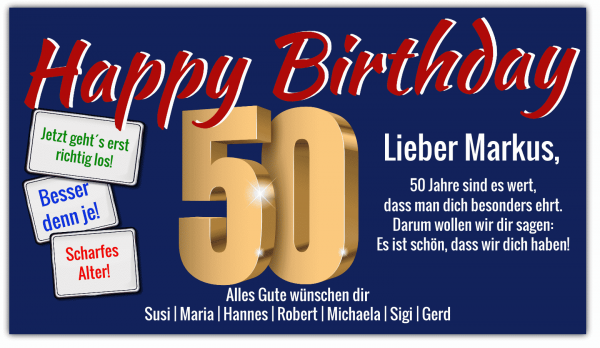 50. Geburtstag | Geburtstag Banner | Geburtstagsbanner | Banner zum 50. Geburtstag | Banner online drucken | Banner günstig bestellen |